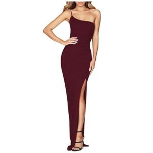 One Shoulder High Slit Evening Party Bodycon